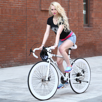 Variable 21 speed dead fly bicycle men and women students mountain bike 26 inch double disc brakes solid tires adult road bike