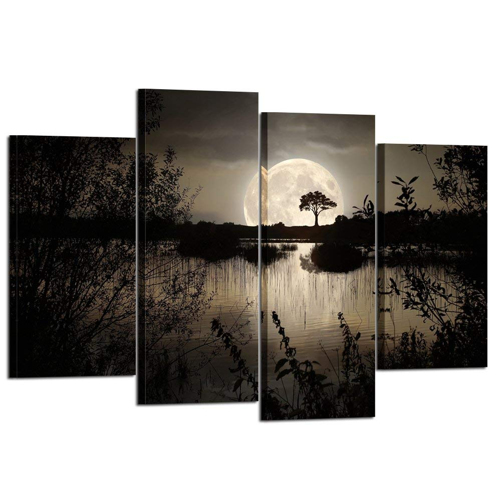 4 pièces impressions sur toile Art mural grande lune sur lac dans la forêt sombre moderne toile peinture paysage photo livraison directe