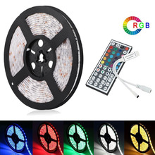 MARSWALLED 5M SMD5050 RGB LED Strip Light Waterproof IP65+ 44key IR Remote Controller for Kitchen Room Coffee Bar Party Wedding