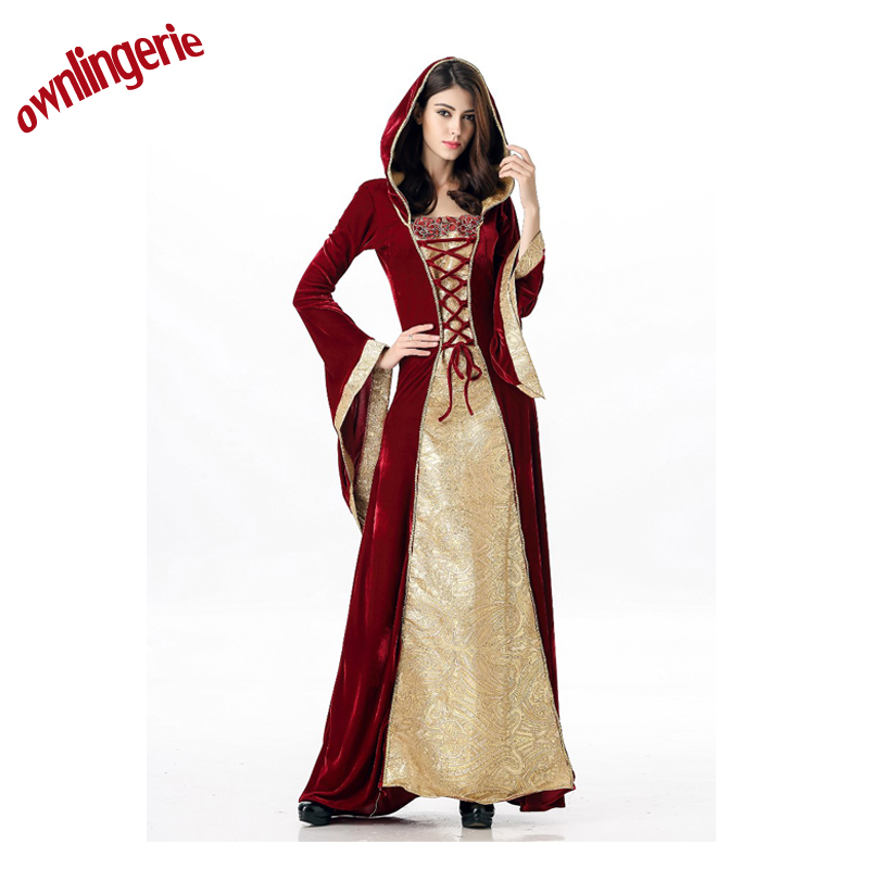 Deluxe Royal Medieval Red Renaissance long gown ladies Costume with Little red riding hood 4867