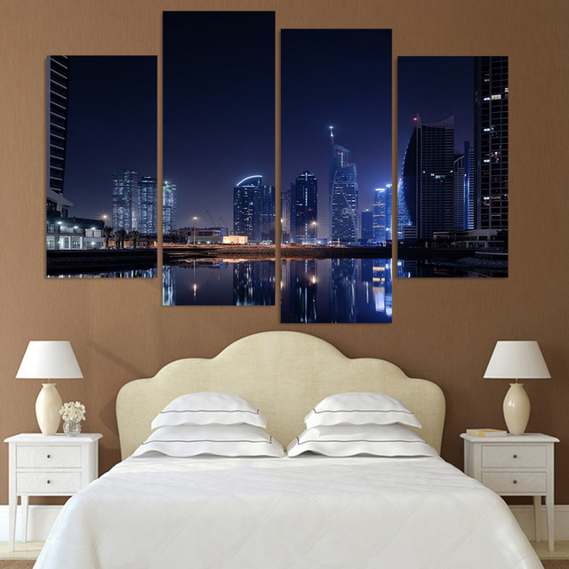 Canvas Painting 4 Piece Canvas Art Dubai City Lights Night HD Printed Home  Decor Wall Art