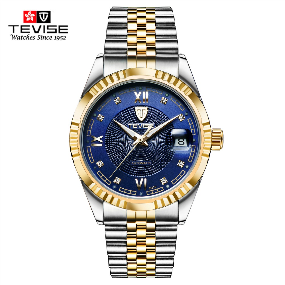 TEVISE Mens Watches Top Brand Full Steel Business Automatic Mechanical Self Wind Men Analog Gold Watch Auto Date For Man Watches tevise men black stainless steel automatic mechanical watch luminous analog mens skeleton watches top brand luxury 9008g