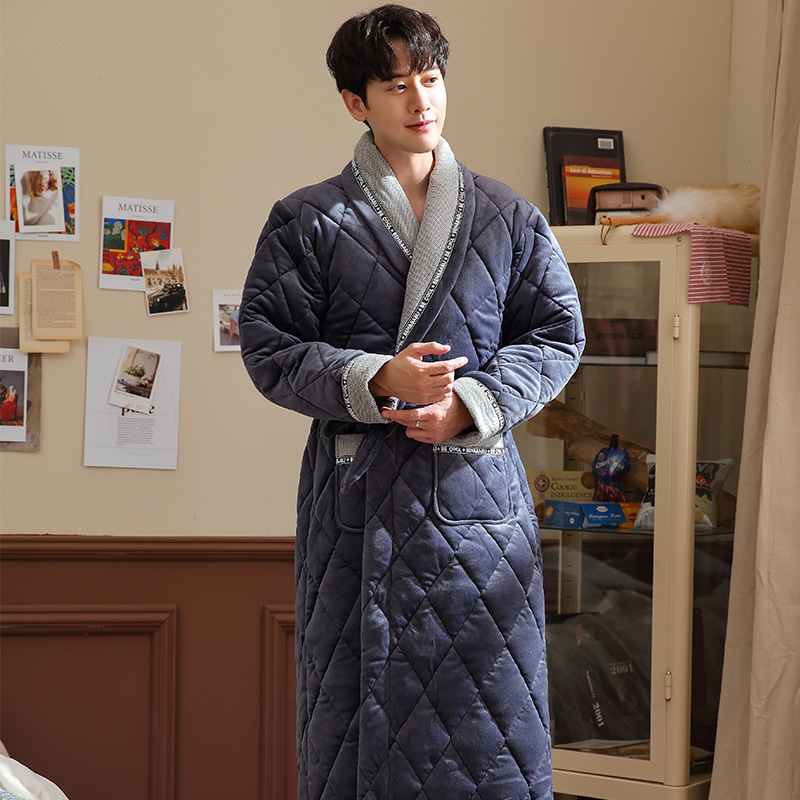Male Robes Winter Beibei Quilted Three Layers Cotton Thick Bathrobes Mens Large Size Flannel Home Warm Dressing Gown 3XL