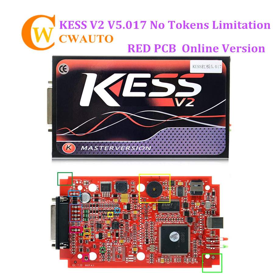 Kess V2 V2.47 V5.017 Online Version with Red PCB Support 140 Protocol No Token Limitation KESS ECU Chip Tuning OBD2 Manager kess newest v2 28 obd2 tuning kit kess v2 fw4 036 sw2 28 ecu chip tuning tool free ecm titanium software free ship