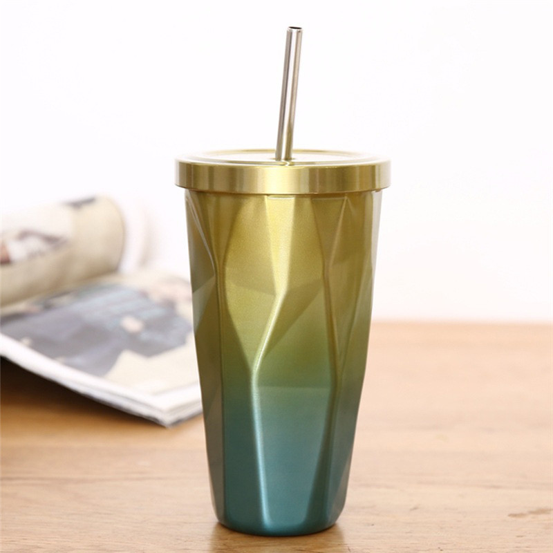 badbc002601 Fashion Colorful Stainless Steel Travel Coffee Mug with Straw Portable Double  Wall Tea Milk Cup with Lid 500ml-in Mugs from Home & Garden on  Aliexpress.com ...