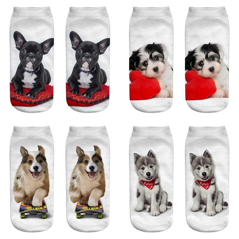 Dreamlikelin 20 Styles 1 Pair 3D Kawaii Dogs Cats Corgi Bulldog Woman Socks Cute Animal Unisex Ankle Sock