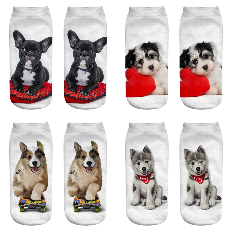 Dreamlikelin 20 Styles 1 Pair 3D Kawaii Dogs Cats Corgi Bulldog Woman <font><b>Socks</b></font> Cute <font><b>Animal</b></font> <font><b>Unisex</b></font> Ankle <font><b>Sock</b></font> image