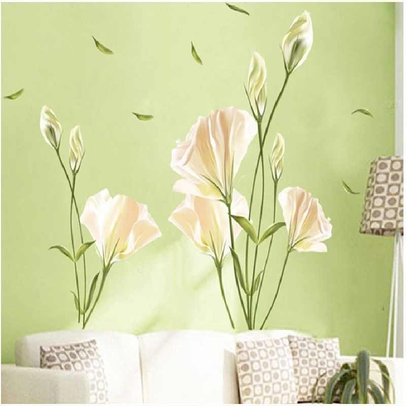 White Blossum Flower Wall Stickers For Bedroom Home Decoration Plant Plane Mural Pastrol Window Removable Diy Wallposters Hot
