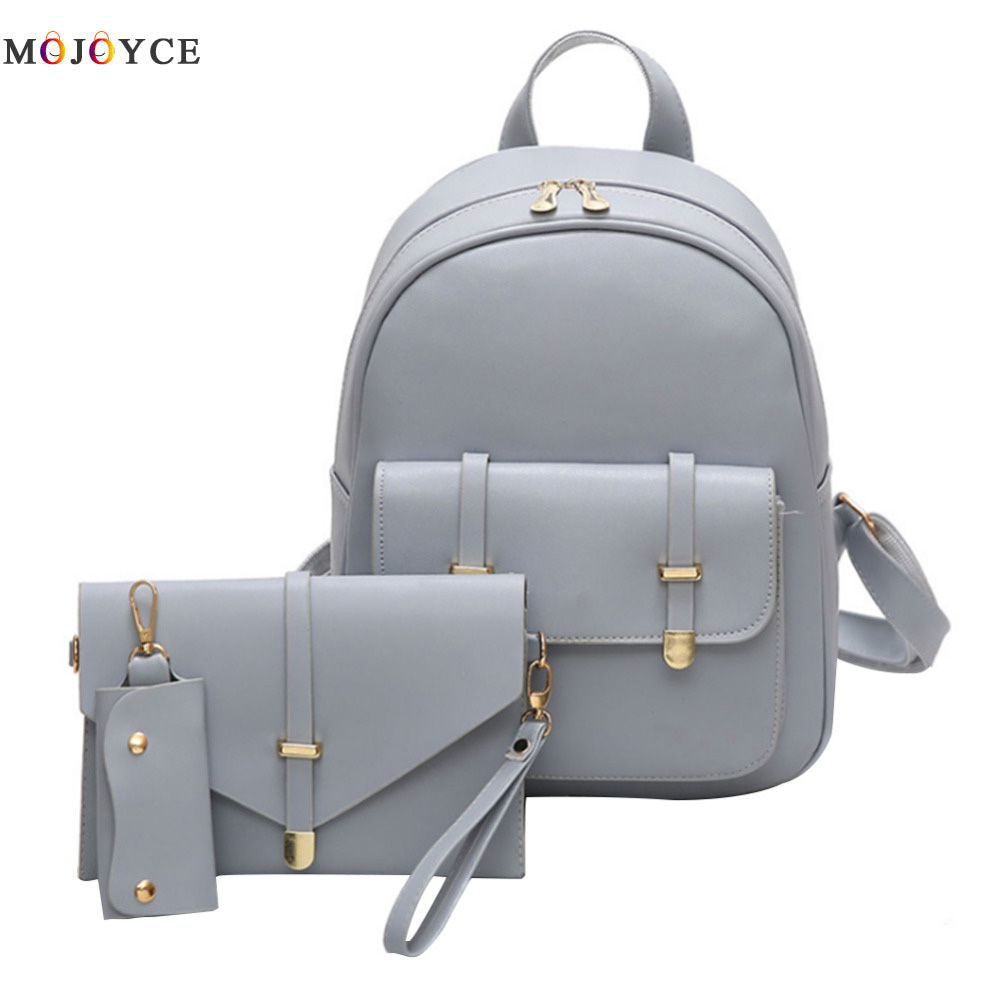 3pcs/set Pu Leather Women Backpack Girls Solid Shoulder Mini Backpack Lady Composite Bag Mochila Feminina