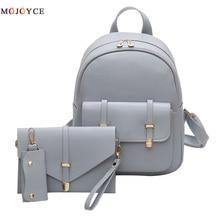 3pcs/Set PU Leather Women Backpack Girls Solid Shoulder Mini