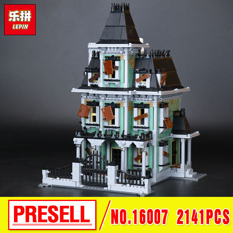 Lepin 16007 Monster fighter The haunted house Model Building Kits Model Assembling  Toys Compatible With 10228 in stock new lepin 16007 2141pcs monster fighter the haunted house model set building kits model compatible with10228