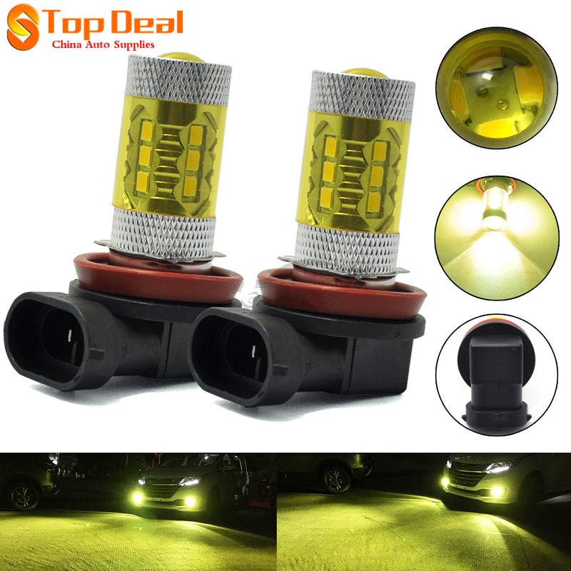 2Pcs 80w High Power Car LED Bulbs DRL Fog Light H8 H11 4300K Yellow 2323 Car Daytime Running Lights 2pcs set fog lights daytime running light drl h1 fog bulbs high power 100w yellow 4300k replacement car lamps car styling
