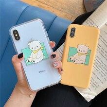 Jelly bear Korean phone case for iphone8 8plus cute cartoon brown iphone 6 8 7 7plus 6s plus x xr xs max fundas
