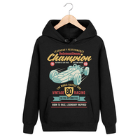 Bloodhoof International Champion Car Race Locomotive Printing Pullover Black Cotton Men Hip Hop Unisex Tops Hoodie Asia Size