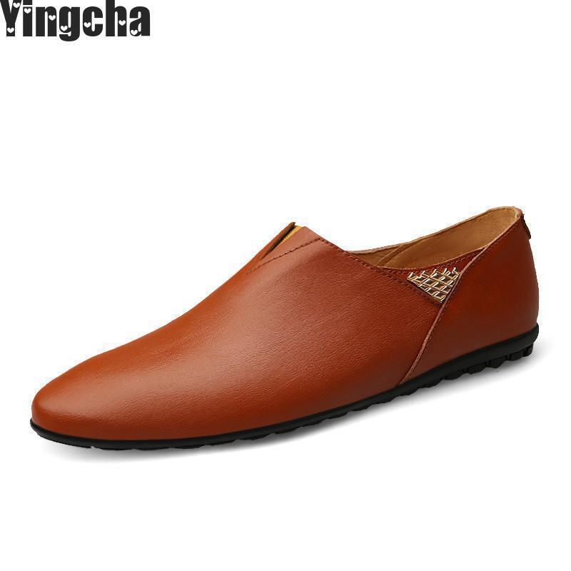 Genuine Leather Men Loafers Large Size 37-45 Slip On Brown Mens Shooes Driving Moccasins Casual Male Flats pl us size 38 47 handmade genuine leather mens shoes casual men loafers fashion breathable driving shoes slip on moccasins