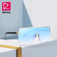 DENISA Square Oversized Sunglasses Men 2019 Plus Size Glasse