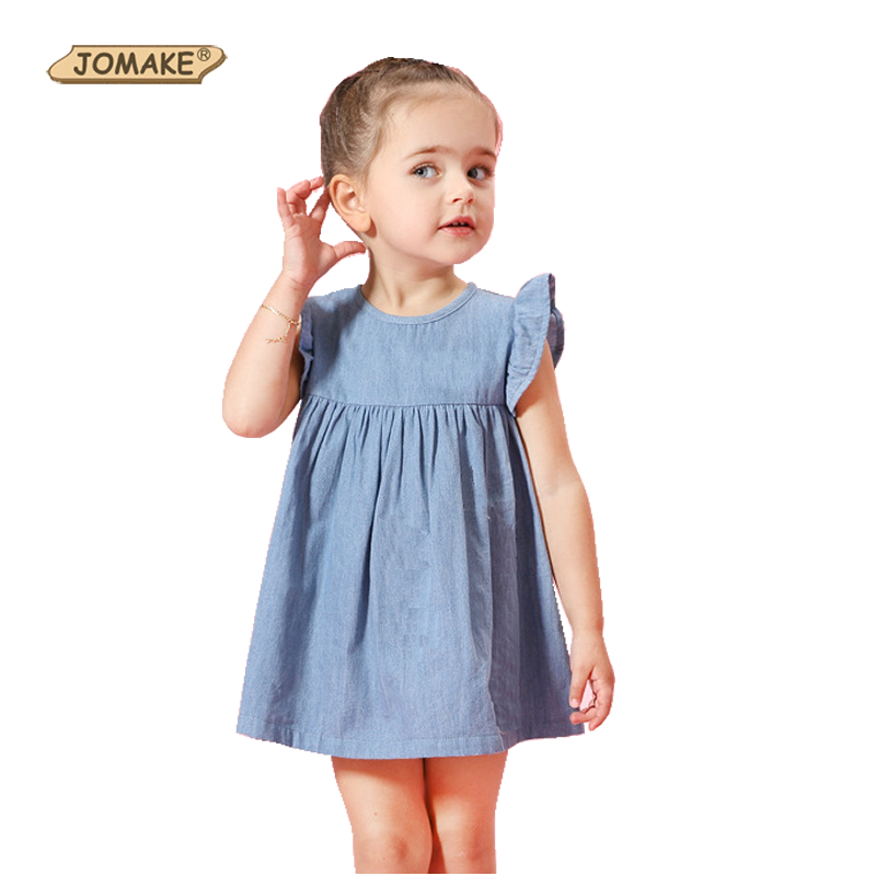 New Denim Baby Girl Dress Pleated Sleeveless Cute Princess Dress Children Clothing Girls Dresses Summer 2017 Casual Kids Clothes