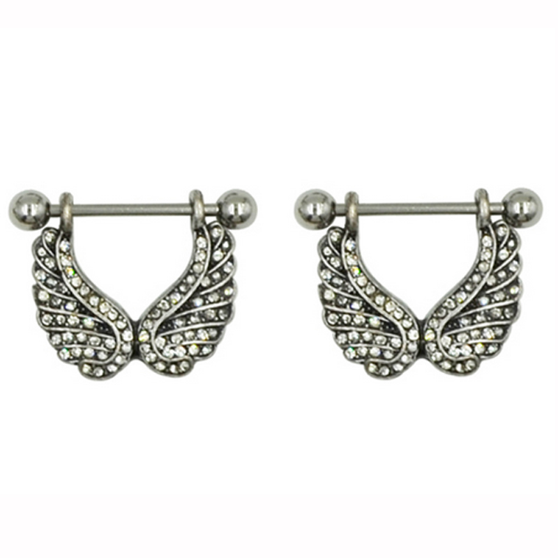 Showlove 2pcs Cz Gem Angel Wing Nipple Barbell Rings