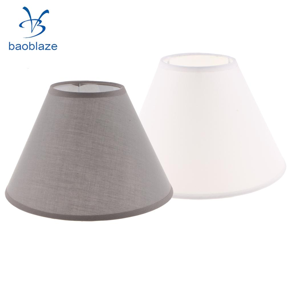 Set of 2, Simple Table Lamp Shade Bedside Lamp Light Shade Cover, Fabric Light Shade Style For Bedroom Study ( White & Gray )