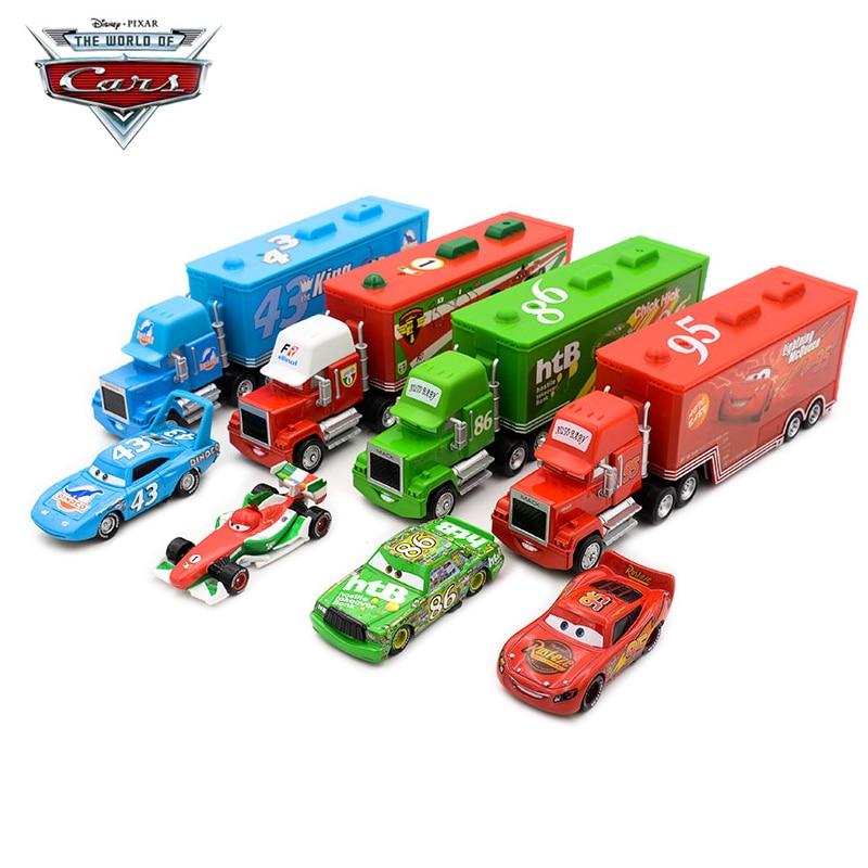 2 шт., 1:55, Дисней Pixar Cars 2, литой под давлением металлический сплав, Lightning McQueen, Mack, грузовика, King Chick, Hick, Игрушечная модель, подарок для мальчика Наземный транспорт      АлиЭкспресс
