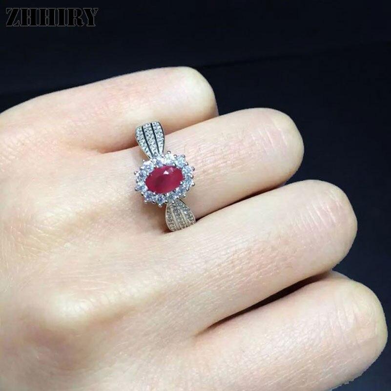 ZHHIRY Echte Natürliche Rubin Ring Echte 925 Sterling Silber Edlen - Edlen Schmuck - Foto 2