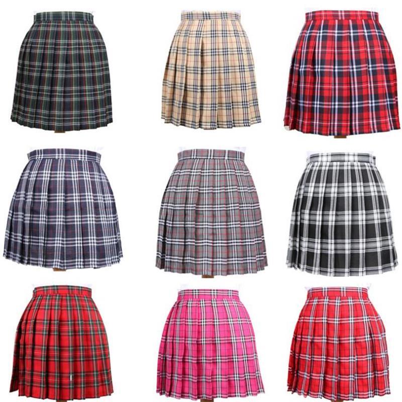 Faldas de las mujeres señoras Kawaii falda viento de la Universidad Cosplay de gran tamaño cuadros estudiante Multicolor Falda Mujer coreana Harajuku