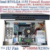 B75 6 портов Gigabit LAN 1u сети сервера системы Barebone без Процессор pci e 1000 м 6*82583 В поддержка рос Mikrotik pfsense wayos