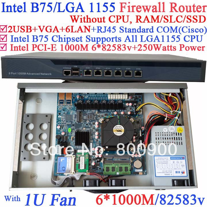 B75 6 ports Gigabit lan 1U network server barebone system without CPU PCI-E 1000M 6*82583v support ROS Mikrotik PFSense Wayos стоимость