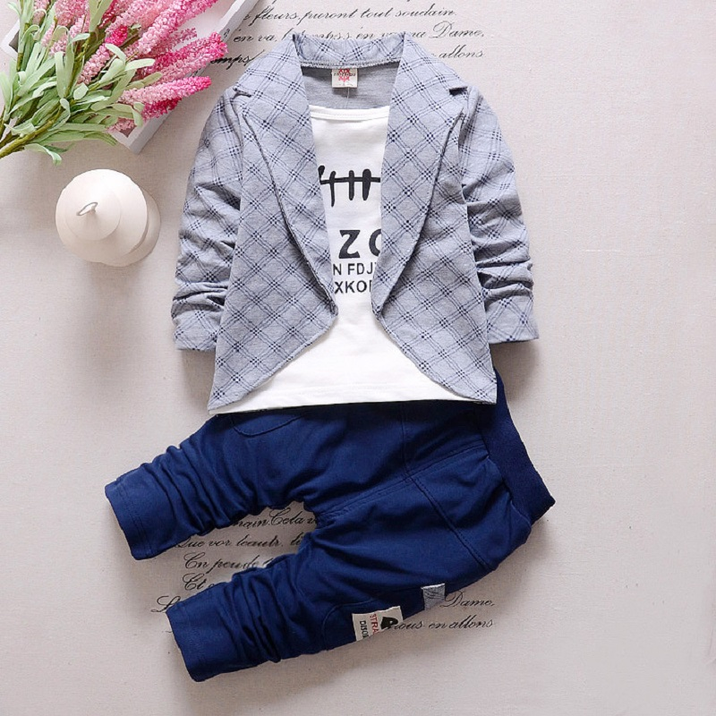 Fashion print casual handsome Boys Formal Clothing Kids Attire Clothes Plaid Suit In September Toddler Suit Set size 80-110