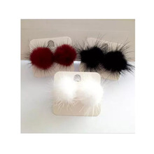 Grace Jun(TM) 2017 Spring Style Rabbit Fur Ball Clip on Earrings without piercing for Women party Silver Plated No Hole Ear Clip