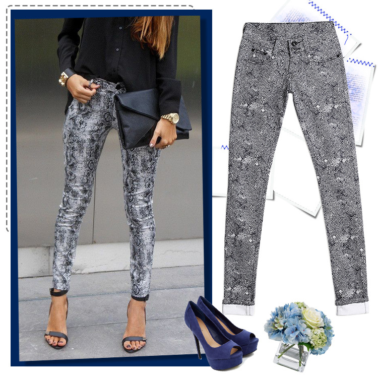 2018   jeans   Mid Waist Leoprad Print Women   Jeans   Skinny   Jeans   For Women Denim Pants Pencil   Jeans   Pantalon Femme