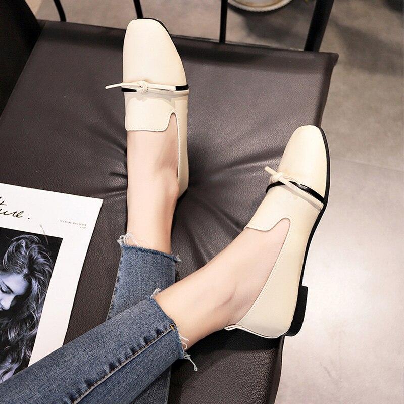Casual Femmes Confortable Métal Beige noir Chaussures Boucle Cuir En De Nouveau Mince Plat wRxfqFpyB