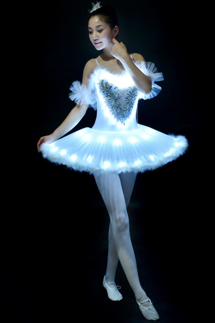 Girls Ballet Tutu Dress Lighting Dancing Suit Luminous Dances Fluorescent Adult Swan Lake Dancing Performance Costumes