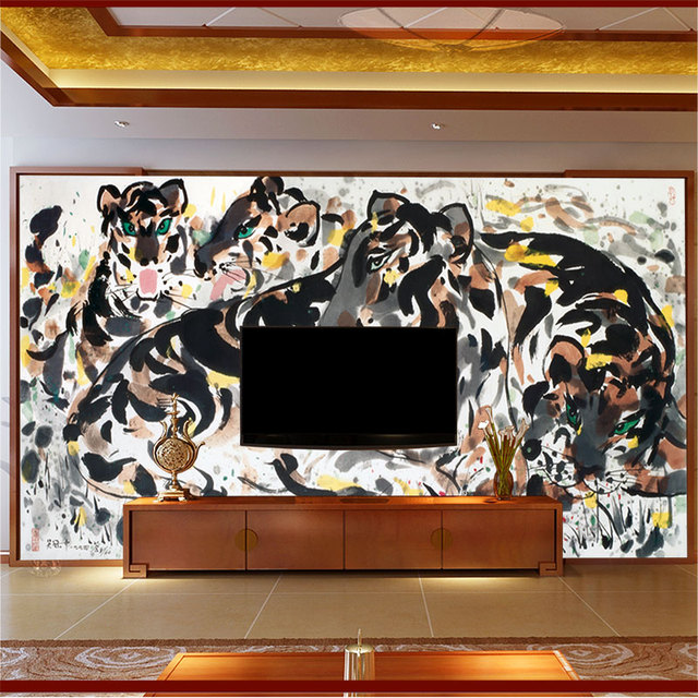 Custom Size Wall Murals Papel De Parede Chinese Traditional Painting Tigers  Print Wallpaper Mural For Living Part 32