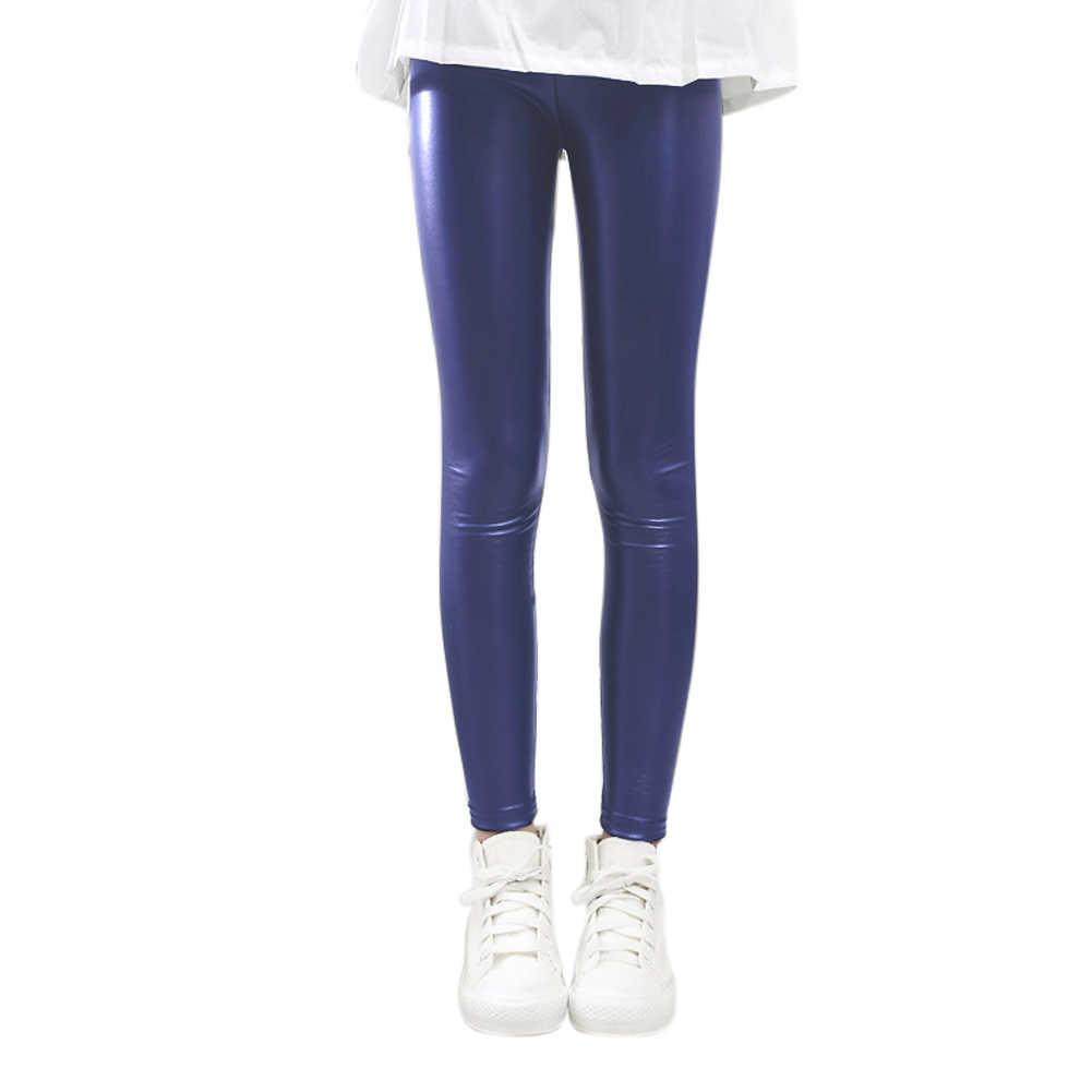 Hot sprzedaży dziewczynek zima jesień legginsy ciepłe spodnie cienkie rozciągliwy nastolatków skórzane spodnie