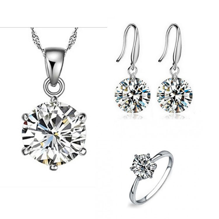 New Arrival Elegant Women Wedding Jewelry Set Silver