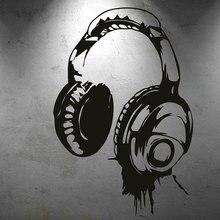 Personality creative design music headphones fans wall stickers bedroom room decoration vinyl YY20