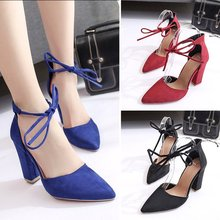 Women Shoes Spring Autumn Flock Lace-Up Pionted Toe Shallow 10cm Thick High Heels Party Female Sandals Pumps Plus Size
