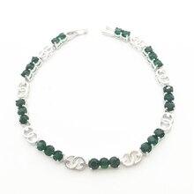 De Color verde Las Mujeres Del Encanto Pulseras de Oro Blanco Lleno de Piedra de Circón AAA Para La Señora del Regalo de la Alta Calidad