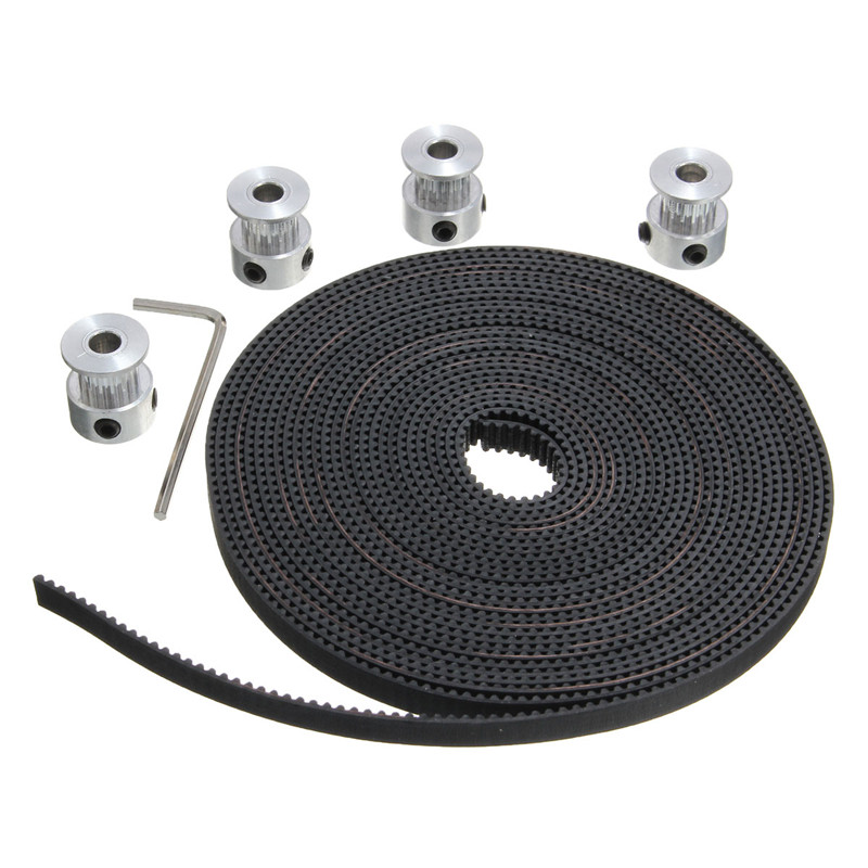 Newest 2pcs 16 Teeth GT2 Timing Belt Pulley Bore 5mm + 5M GT2 Timing Belt Width 5mm 2GT Timing Belt pulley