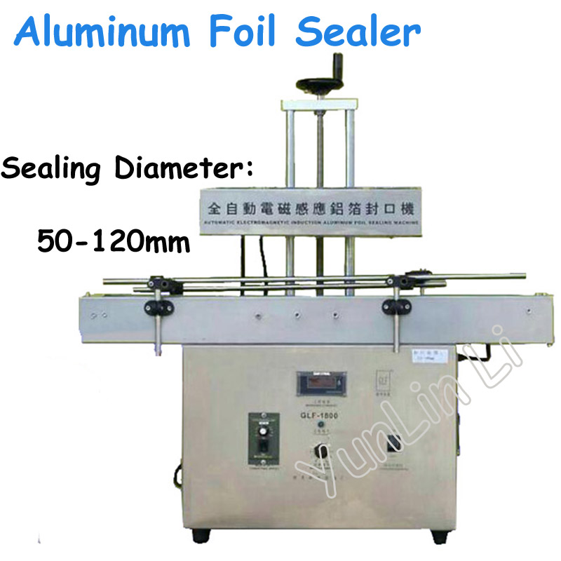 Electromagnetic Foil Sealing Machine Bottle Sealer Large-Caliber Automatic Induction Capping Machine Continuous GLF-1800 hzpk desktop stainless steel cover automatic electromagnetic foil sealing machine continuous induction sealer machine 20 80mm