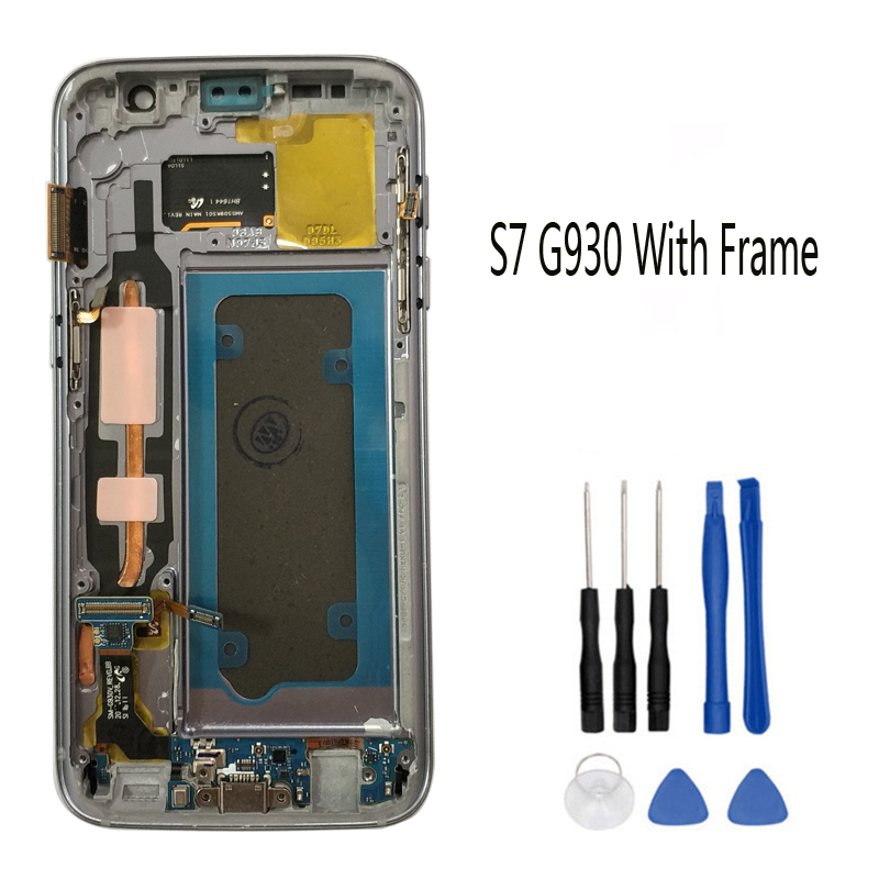 SUPER AMOLED da 5.1 ''Display LCD di Ricambio per SAMSUNG Galaxy S7 G930 G930F Touch Screen Digitizer Assembly con Telaio
