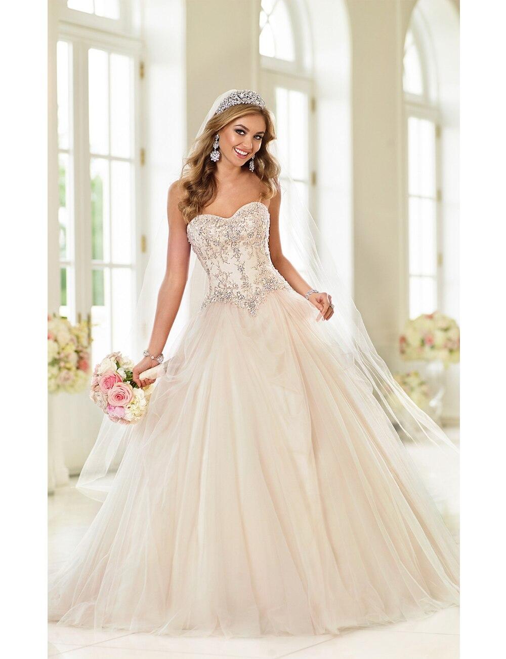 2017 perfect wedding princessdress vestido de noiva a corset closure or a zipper closure under sparkling crystal buttons