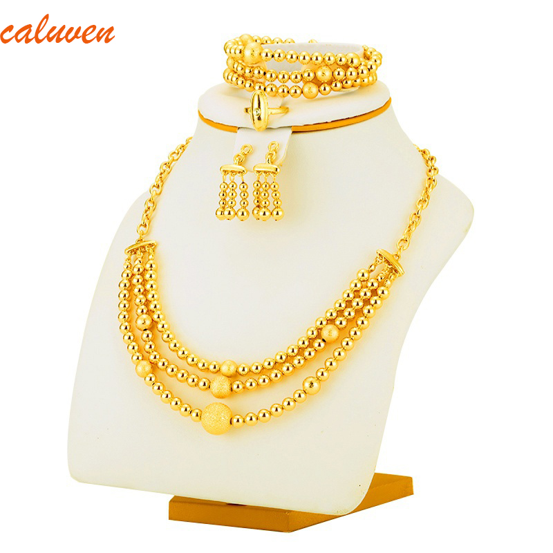Good Stamp Bead Necklace Earrings Bracelet set Jewelry Ball For Women Gold Color Africa / Arab / Middle East / Ethiopian