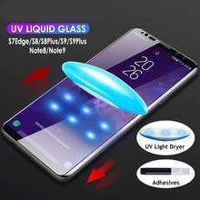 UV glue Tempered Glass for LG G7 G8 Nano Liquid full Mobile Phone glass film V30 V40 V50 adhesive Screen Protector