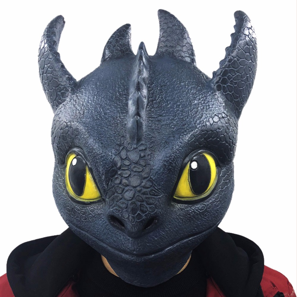 2019 Movie How To Train Your Dragon Cosplay The Hidden World Toothless Mask Full Face Latex Head Helmet Adult Halloween Party