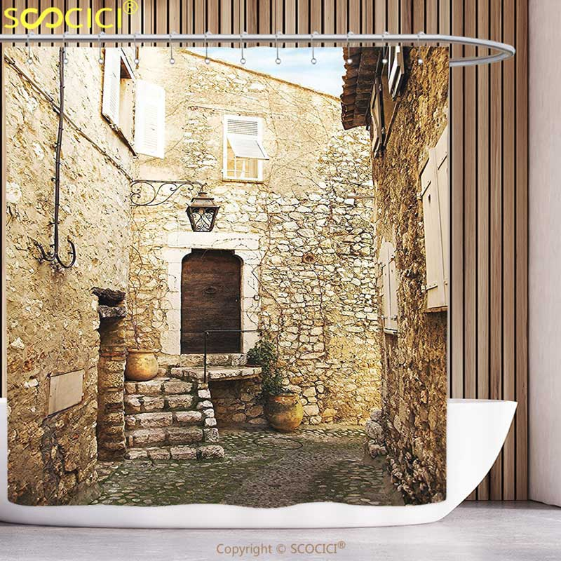 Funky Shower Curtain Wanderlust Decor Confined Cobble Street Sandstone Houses and Shutter Windows Travel Tourist Place Image