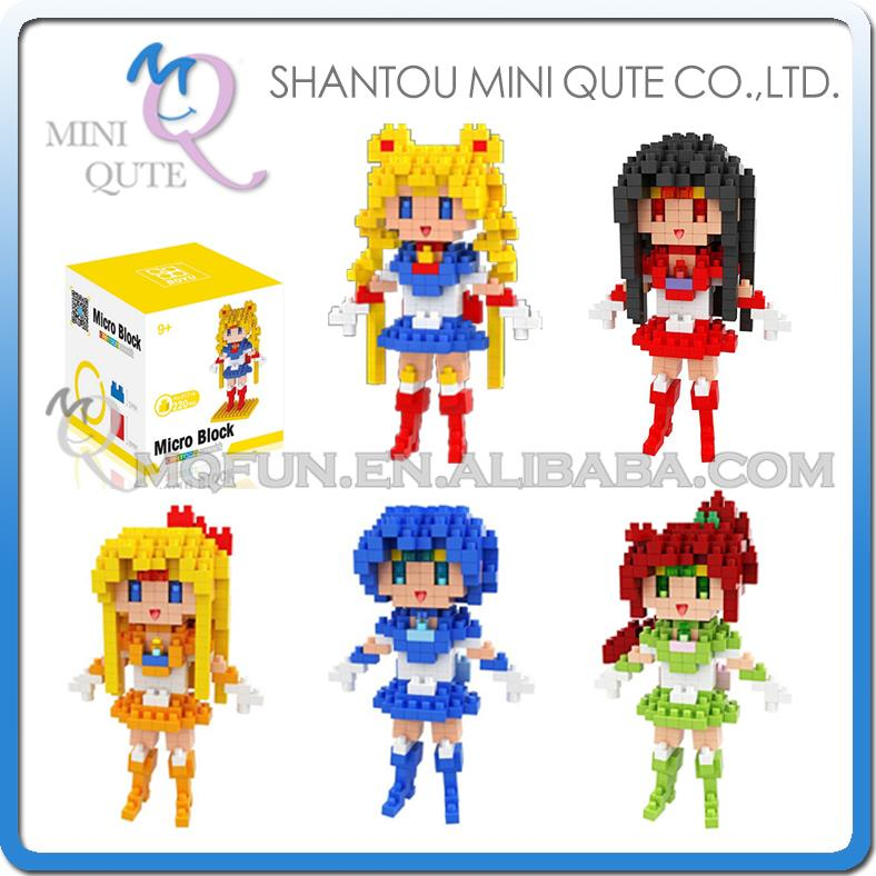 Mini Qute WTOYW BOYU Kawaii Anime cartoon Sailor Moon Kino Makoto girls Diamond plastic building blocks figures educational toy mini qute kawaii wise hawk star war darth vader x wing starfighter r2d2 yoda building blocks brick model figures educational toy