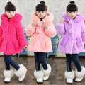 Fashion Kids Childrens Clothes Winter Hooded Red Pink Fur Coat for Girls Elegant Blothing for Girls Outerwear Luxury Faux Fur
