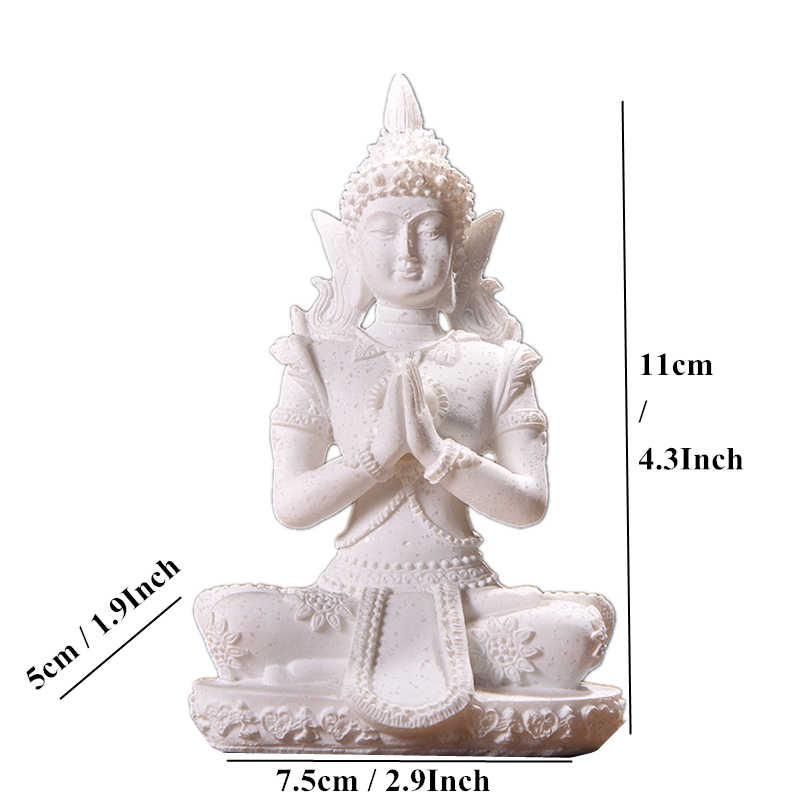 VILEAD 16 สไตล์พระพุทธรูปรูปปั้นธรรมชาติหินทรายประเทศไทยพระพุทธรูปประติมากรรมฮินดู Fengshui Figurine การทำสมาธิ Miniature Home Decor